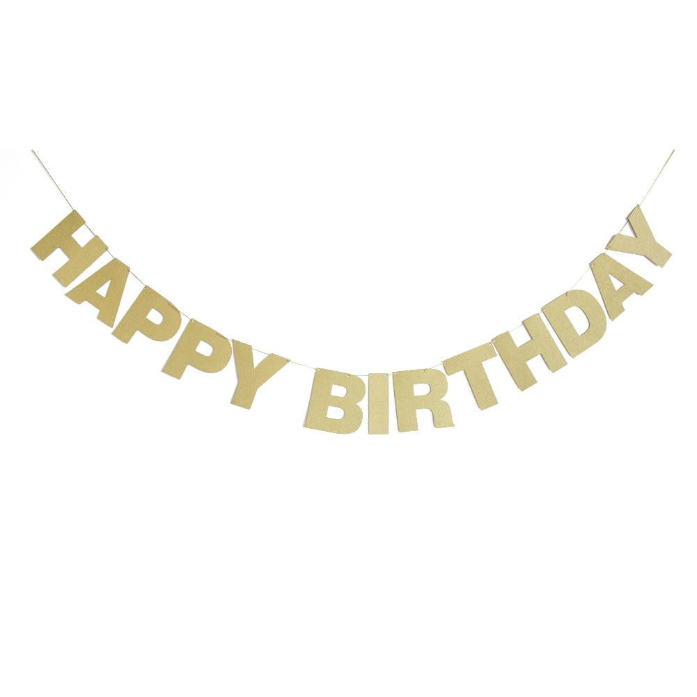 Golden Glitter Birthday Banner - Sunbeauty