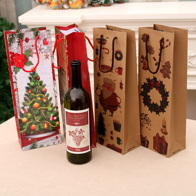 6 Pack Christmas Wine Bottle Bags Gift Wrapping Handbag - cnsunbeauty