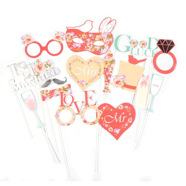 Red Wedding Photo Booth Props(15Pcs) - Sunbeauty