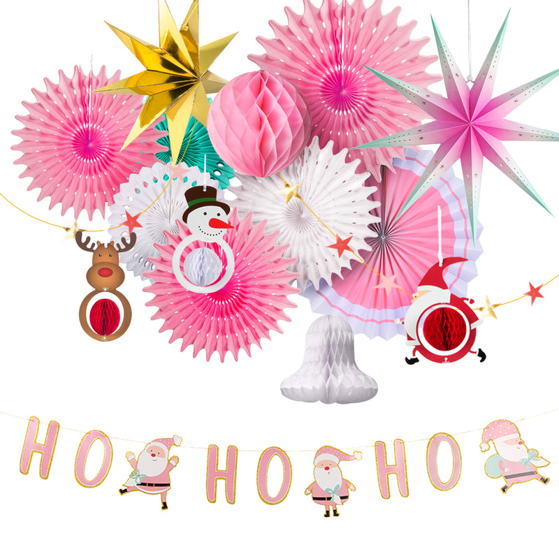 Christmas Party Decoration Set of Hanging Tissue Paper Fans Circle Paper Star