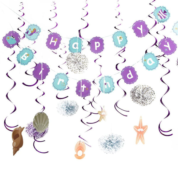 Little Mermaid Birthday Decoration Set - Sunbeauty