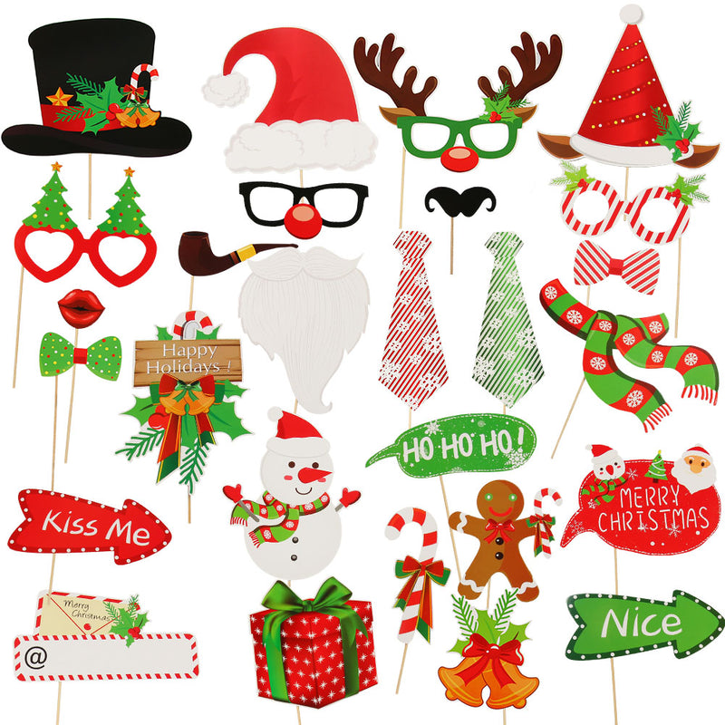 DIY Xmas Photo Decorations Funny Selfie Photography Props Pack for Christmas - cnsunbeauty