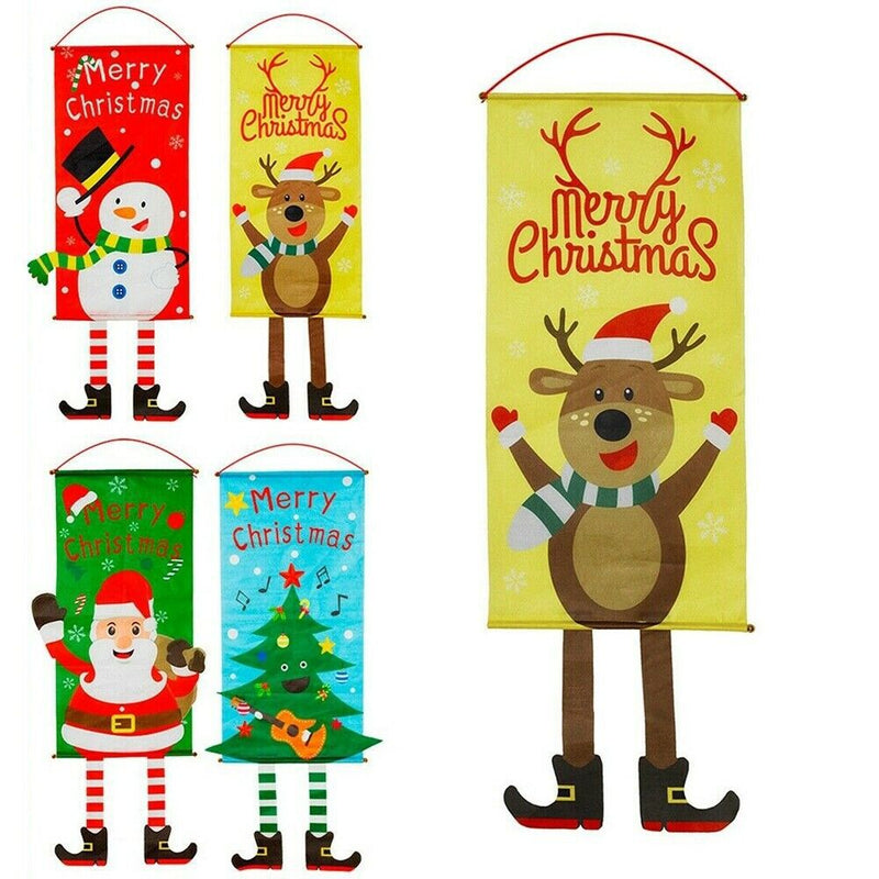Christmas Outdoor Hanging Decorations Indoor Merry Bright Porch Sign Door Banner - cnsunbeauty