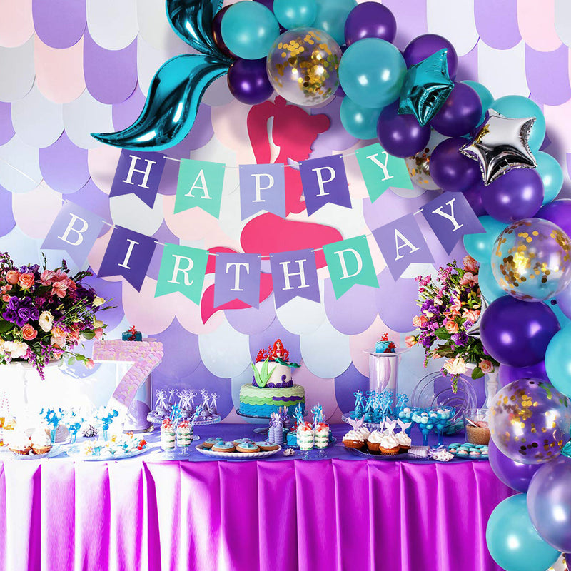 Mermaid Happy Birthday Banner for Party Decorations - Sunbeauty