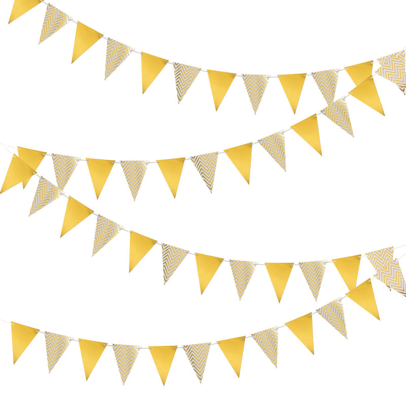 Wedding Gold Triangle Flag String Pennant Banner - Sunbeauty