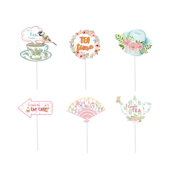 Tea Party Decoration Cupcake Toppers for Bridal Shower Party Supplies - Sunbeauty