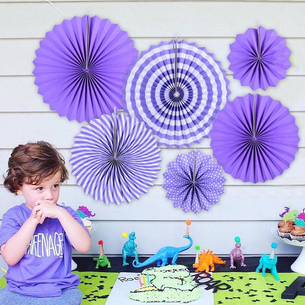 Purple Folding Paper Fans Set(6Pcs) - Sunbeauty