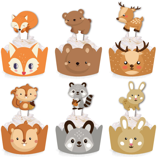 24 Pcs Jungle Safari Animal Cupcake Toppers Picks - Sunbeauty