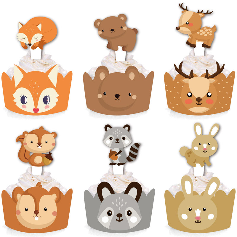 24 Pcs Jungle Safari Animal Cupcake Toppers Picks
