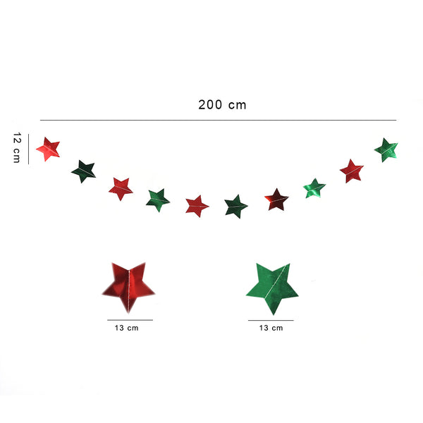 Glitter Star Paper Garland Hanging Decoration for Christmas Festival Party - Sunbeauty