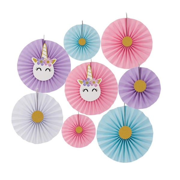 Unicorn Theme Birthday Party Paper Fan/Pinwheel Set - Sunbeauty