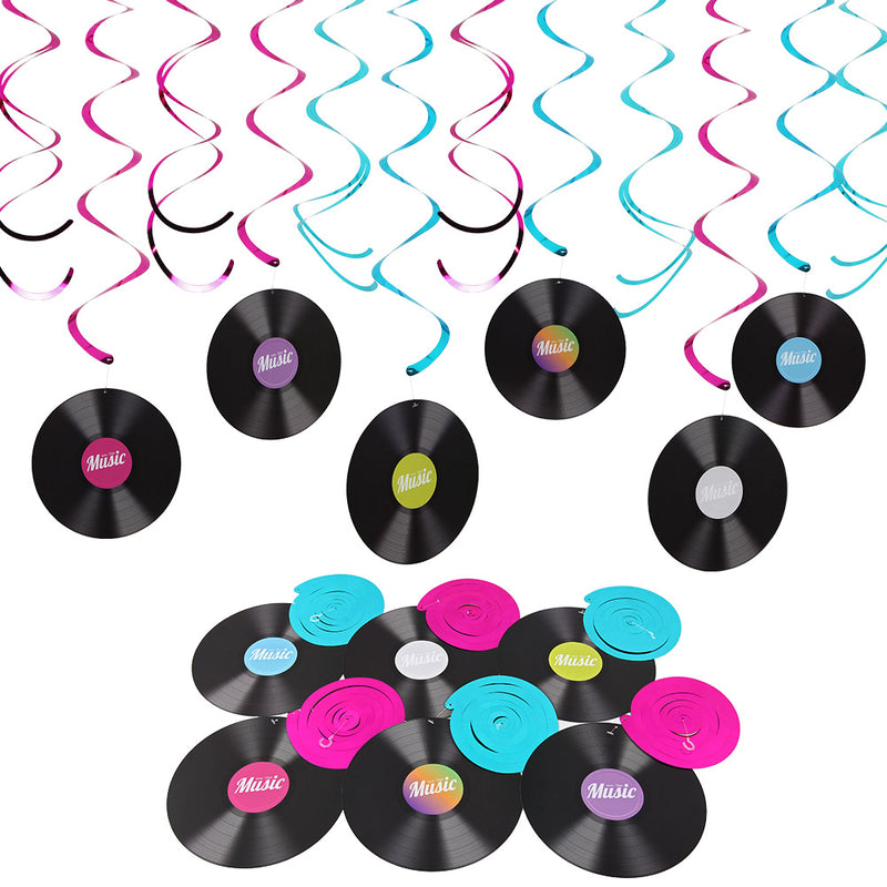 Music Record Decoration Disco Ball Party Hanging Swirl