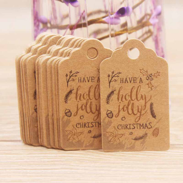 100pcs Christmas Kraft Paper Gift Tags with Root Natural Jute Twine - Sunbeauty