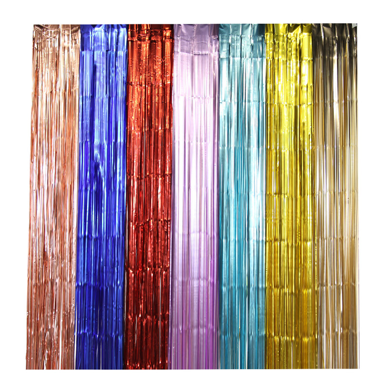 Wholesale Party Decoration Hanging Backdrop Fringe Metallic Tinsel Matte Foil Curtain - cnsunbeauty