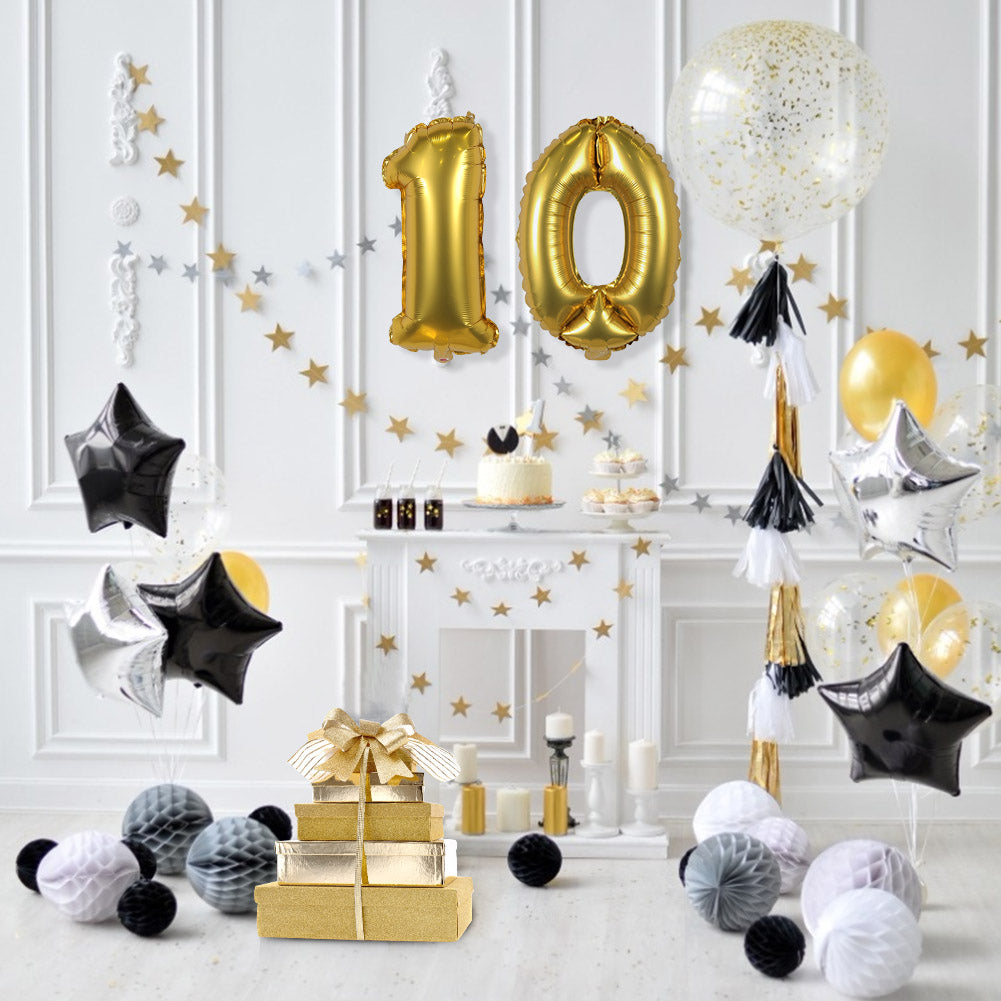 Gold Digit Helium Foil Birthday Party Balloons - Sunbeauty