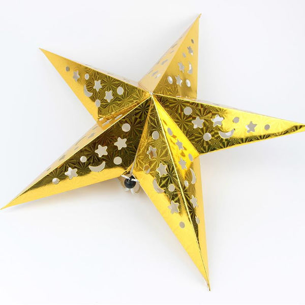Gold laser five-pointed paper star - Sunbeauty