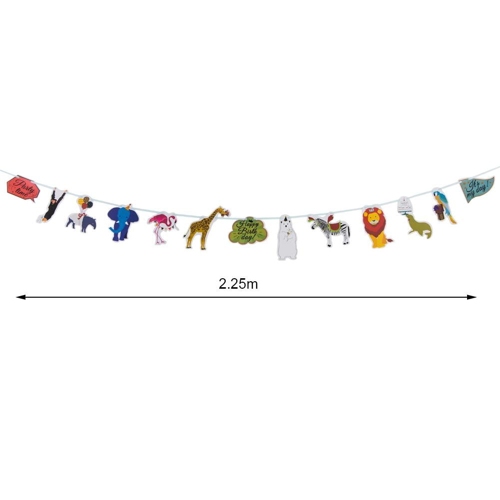 Animal Theme Party Jungle Birthday Flag String Paper Garland - Sunbeauty