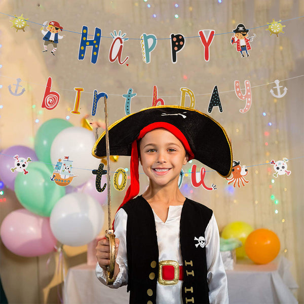 Caribbean themed Pirate Birthday Banner Party Decoration Supplies - Sunbeauty