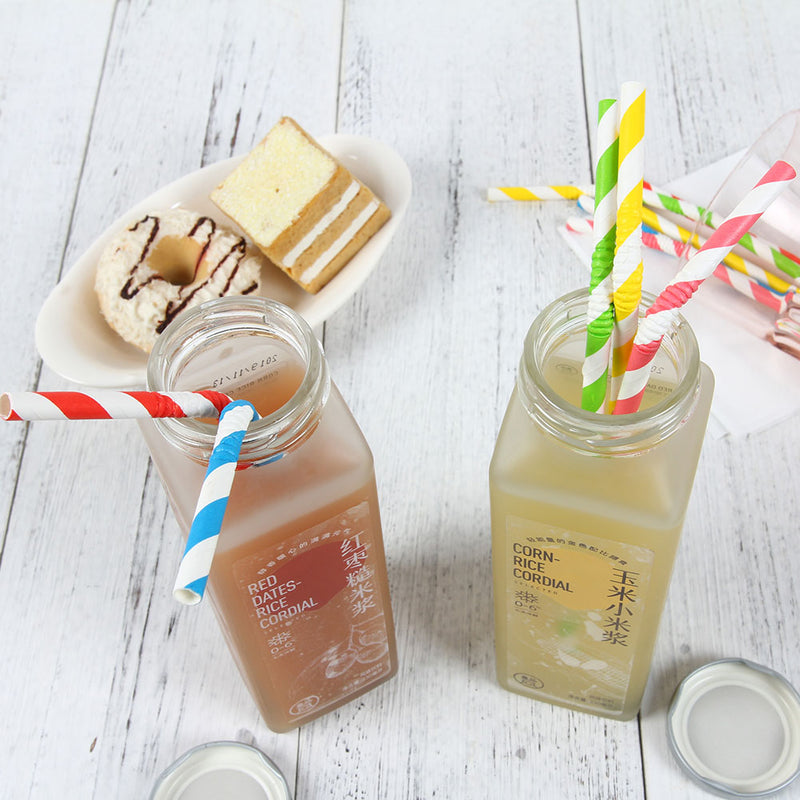 Bendable Flexible Stripe Paper Straws Biodegradable Drinking Mason Jar Cup Straw