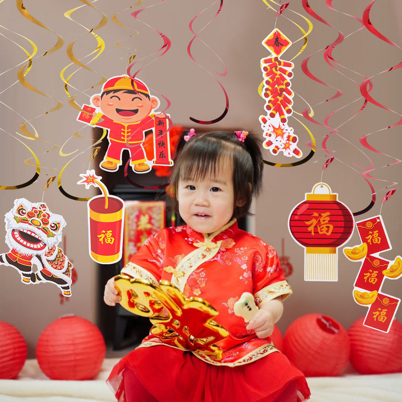 12 PCS Chinese New Year Decorations CNY Party Hanging Swirls - Sunbeauty