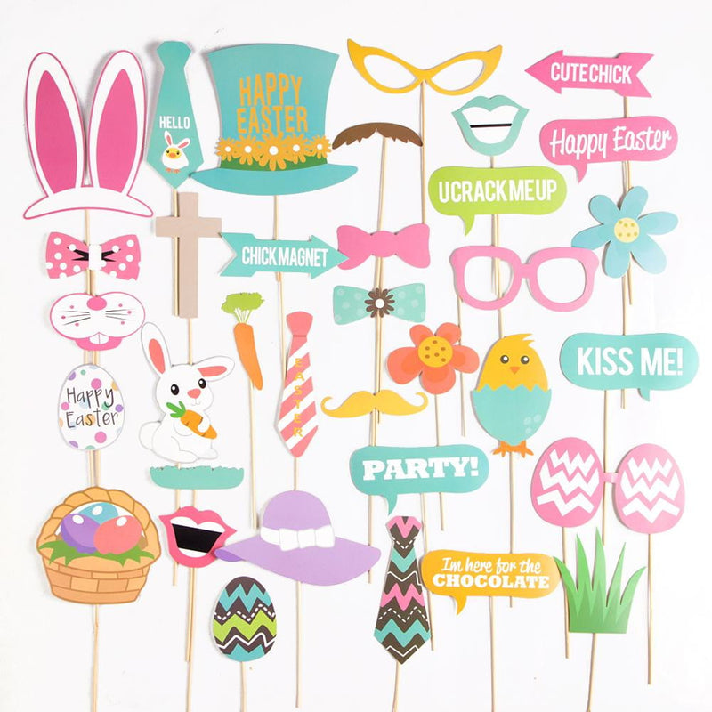 Easter Bunny&Egg Photo Booth Props(35Pcs) - Sunbeauty