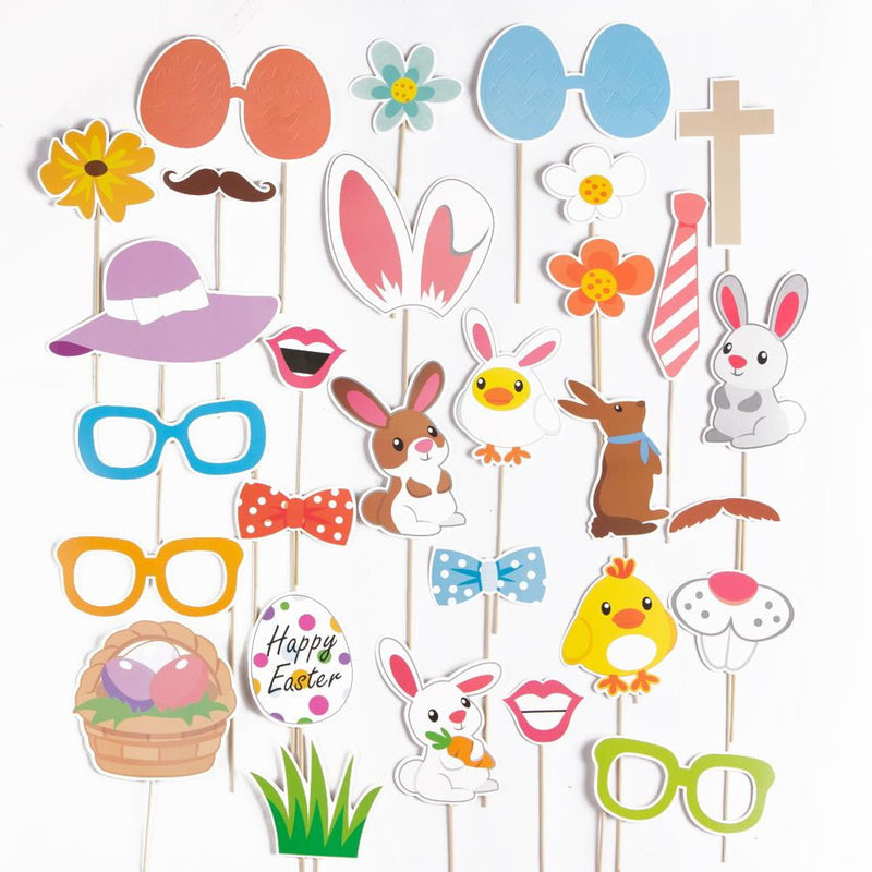 Easter Bunny&Egg Photo Booth Props(29Pcs) - Sunbeauty