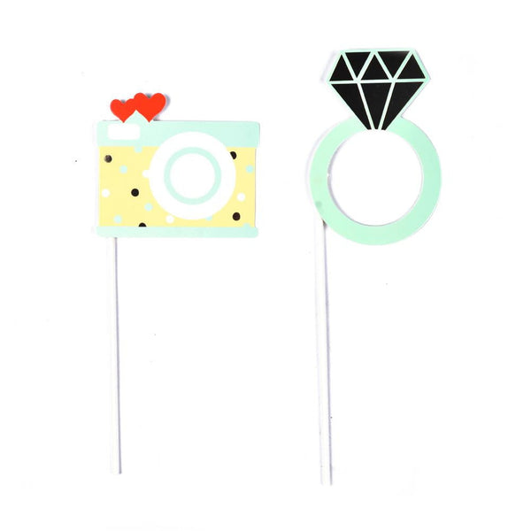 Green Wedding Photo Booth Props(15Pcs) - Sunbeauty