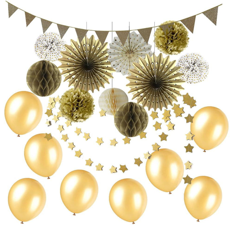 Gold Party Decorations Birthday Party Supplies for Wedding Outdoor Wall Decorations - cnsunbeauty