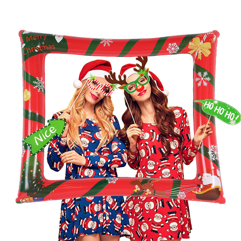 Christmas Inflatable Selfie Frame Funny Blow Up Photo Booth Props - Sunbeauty
