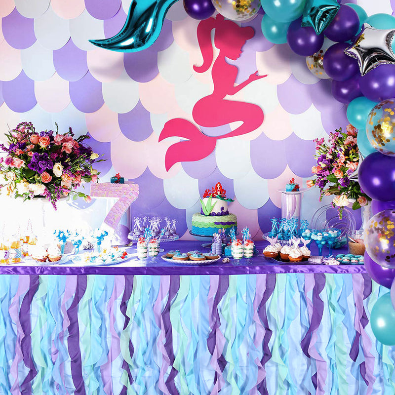Mermaid Birthday Party Lace Taffeta Table cloth Tutu Tulle Table Skirt - cnsunbeauty