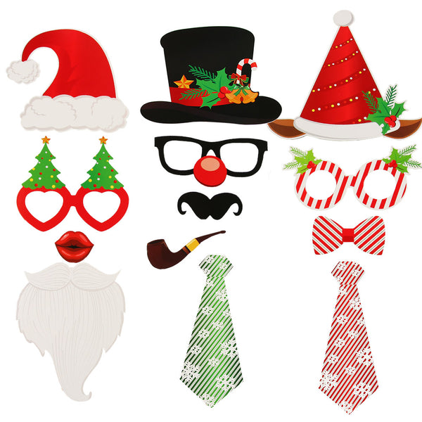 DIY Xmas Photo Decorations Funny Selfie Photography Props Pack for Christmas - Sunbeauty
