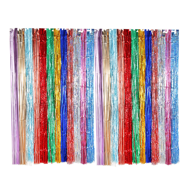 Wholesale Party Decoration Hanging Backdrop Fringe Metallic Tinsel Laser Foil Curtain - cnsunbeauty