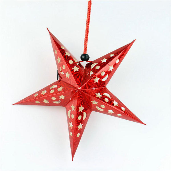 Red laser five-pointed paper star - Sunbeauty