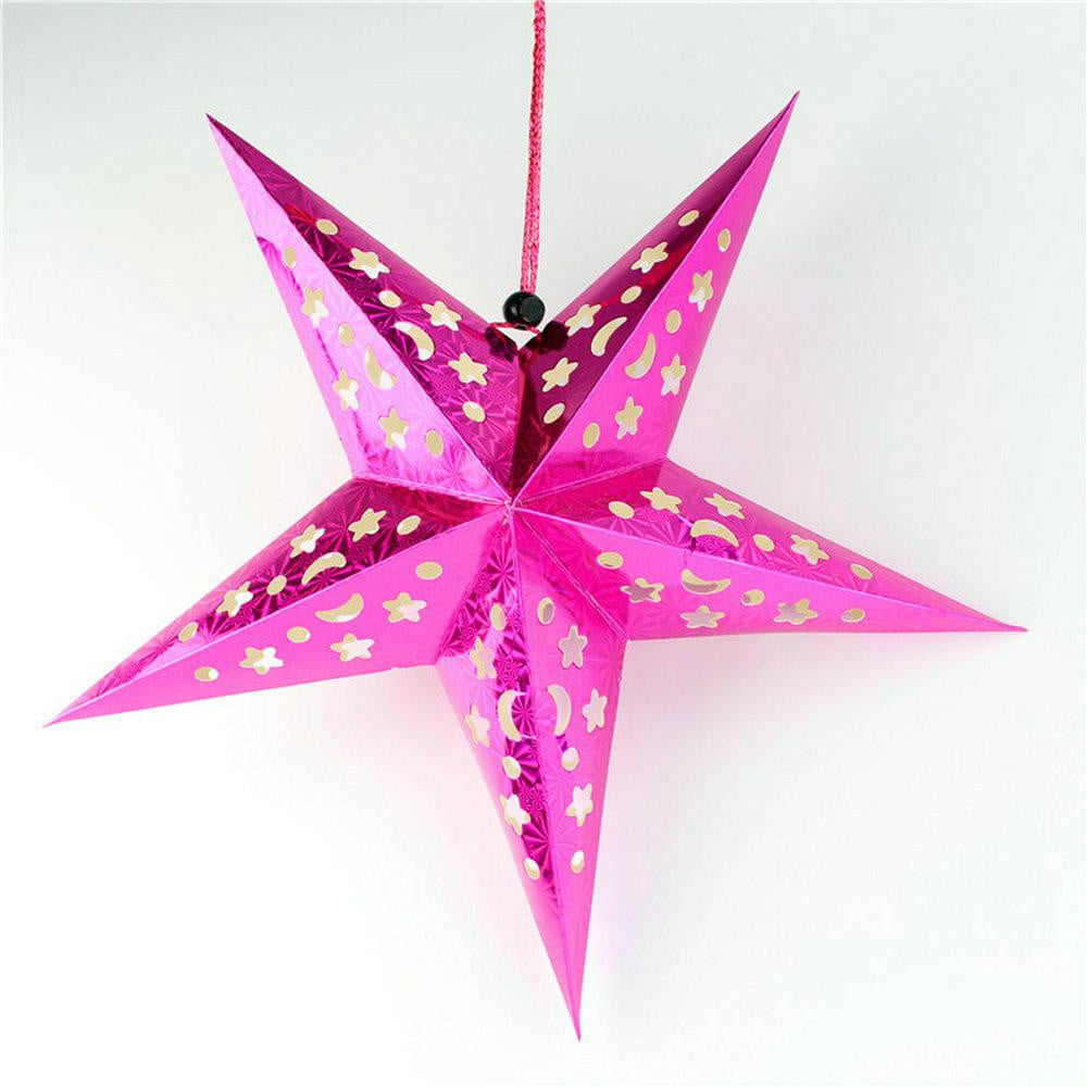 Deep Pink Laser Five-Pointed Paper Star - Sunbeauty