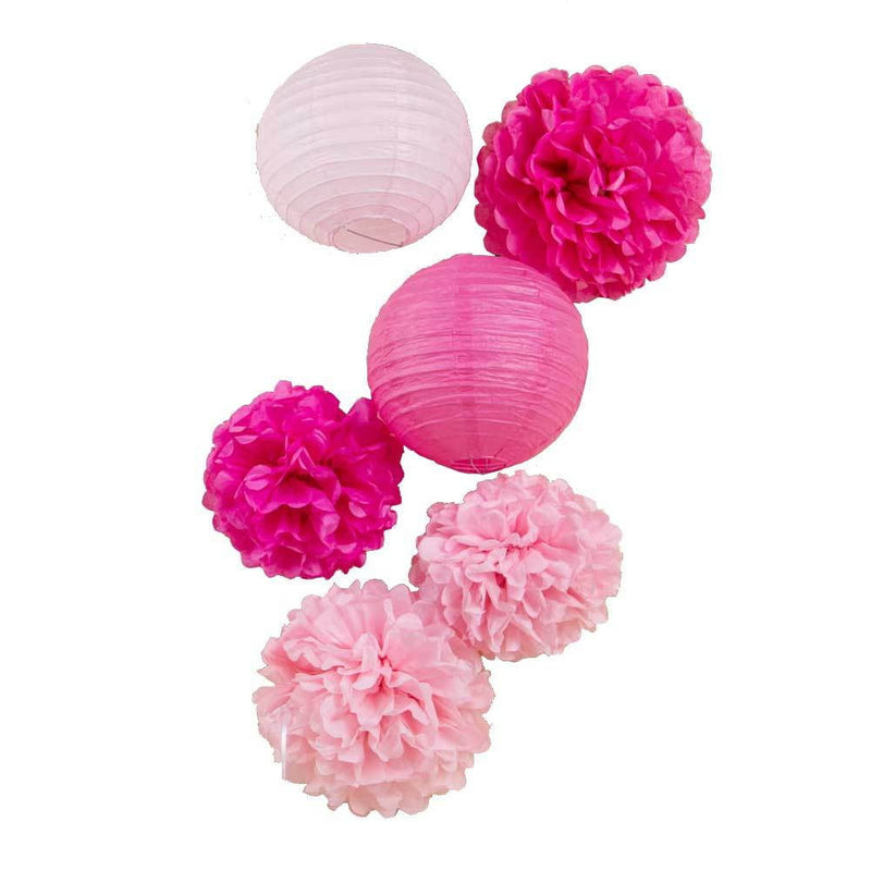 Pink Hanging Paper poms Flowers Craft Kit - Sunbeauty