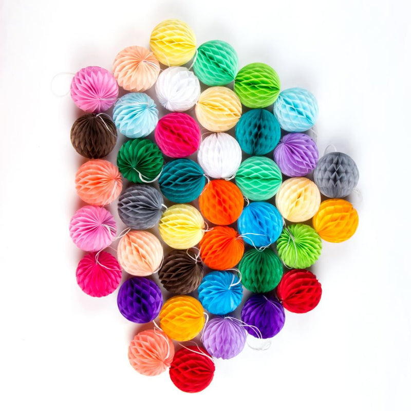40 Pcs Colors DIY Paper Honeycomb Balls - Sunbeauty