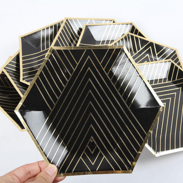 Black Birthday Party Paper Plate - Sunbeauty
