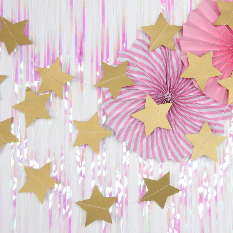 Gold Five-Pointed Star Garland - Sunbeauty