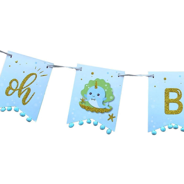 OH GIRL Narwhal Baby Shower Banner(Blue) - Sunbeauty