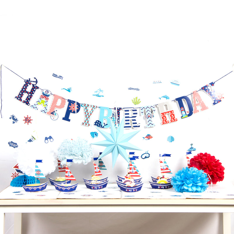 Boys Sailor Nautical Happy Birthday Party Supplies - Sunbeauty