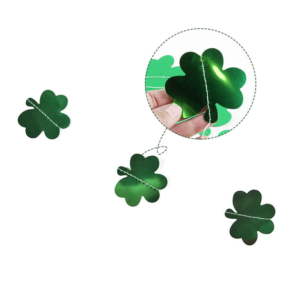 Shamrock Garland Hanging PET Clover Banner for St. Patrick's Day - Sunbeauty