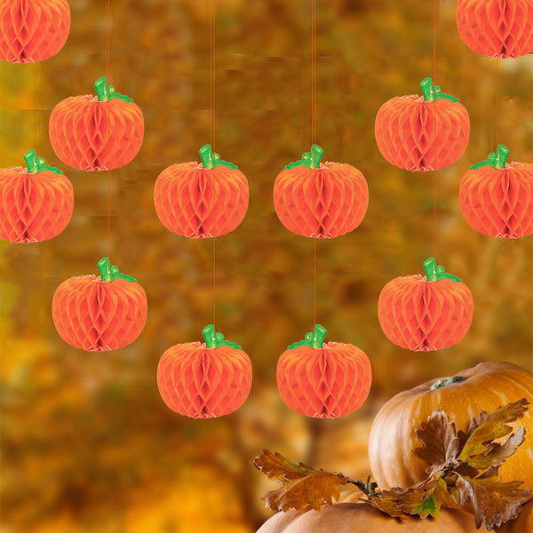 Pumpkin Shape Honeycomb Ball Decorations For Thanksgiving - Sunbeauty