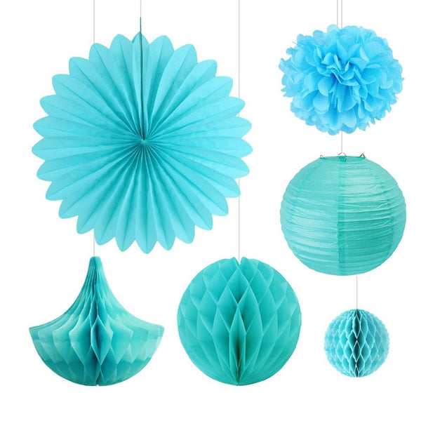 6Pcs Tiffany Blue Tissue Paper Party Decorations - Sunbeauty