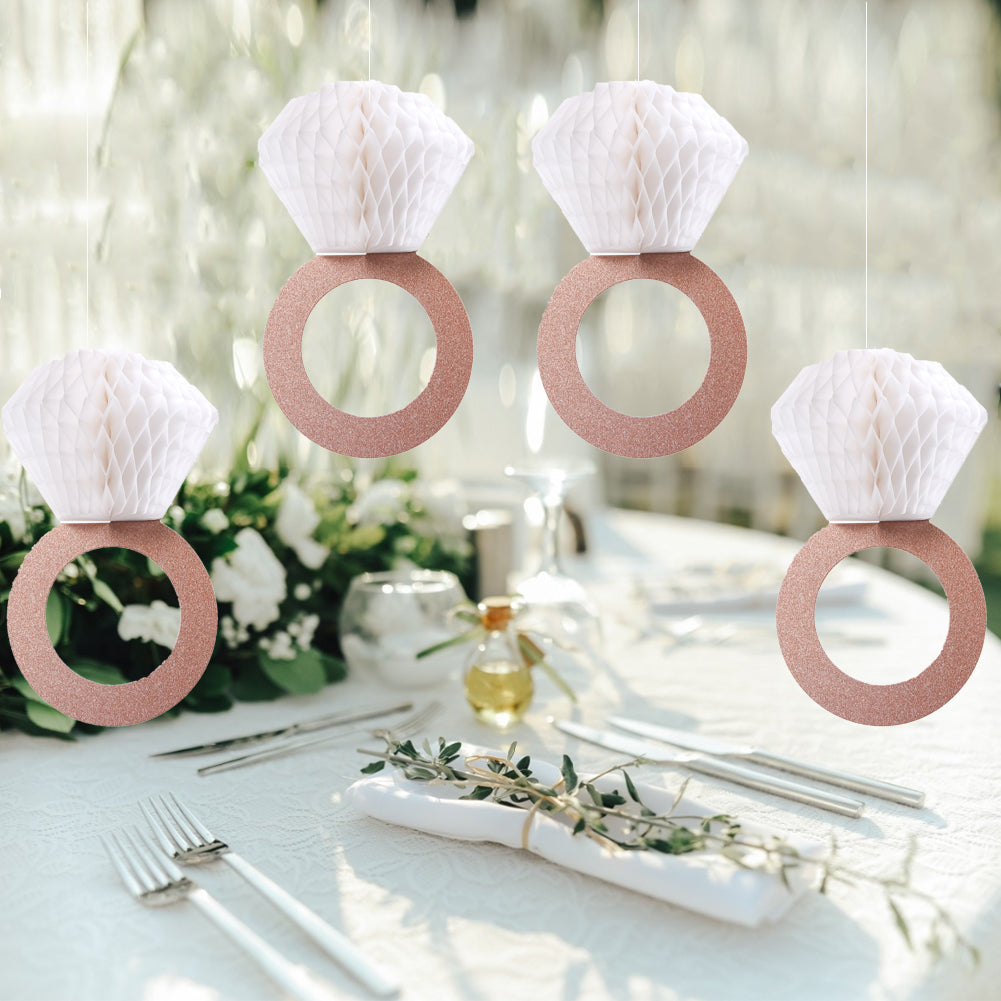 Bachelorette Party Bridal Shower Honeycomb Diamond Ring Hanging Decorations - Sunbeauty