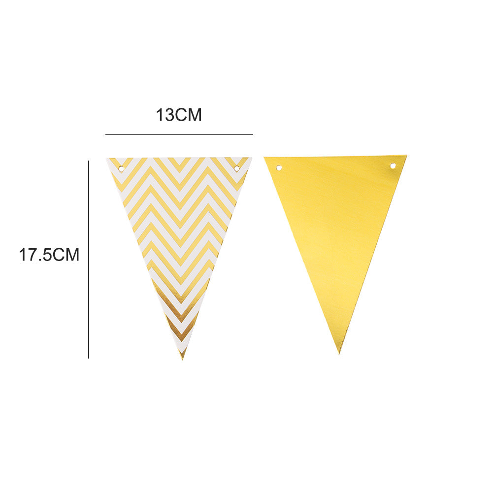 Wedding Gold Triangle Flag String Pennant Banner
