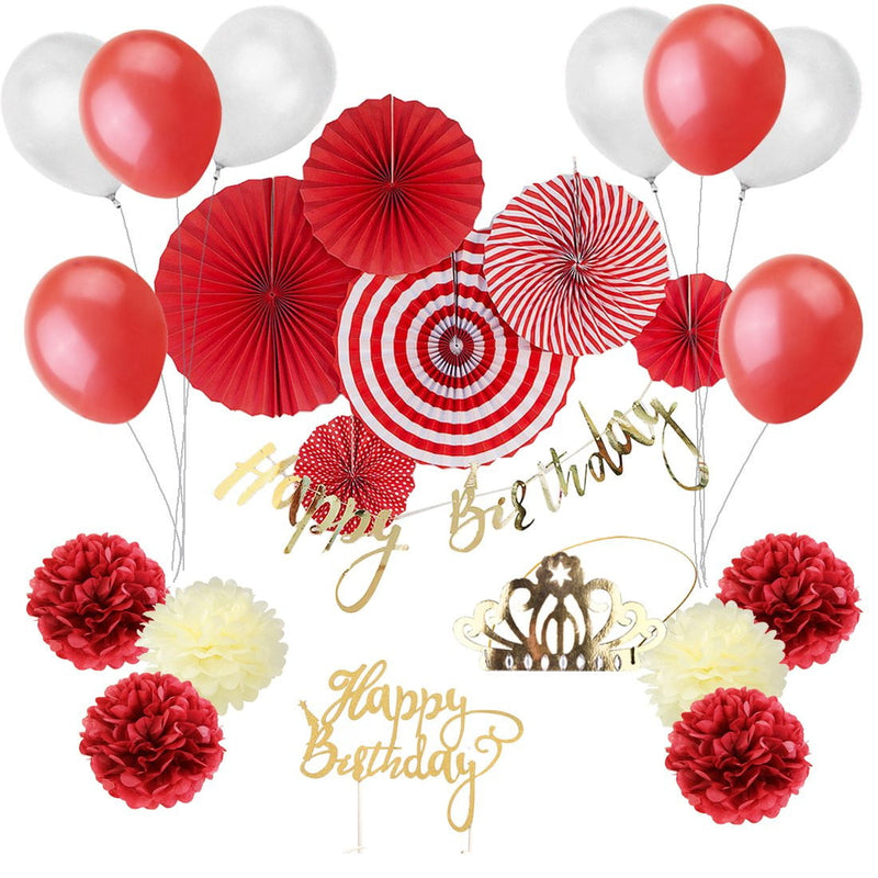 Red/White Happy Birthday Decoration - cnsunbeauty