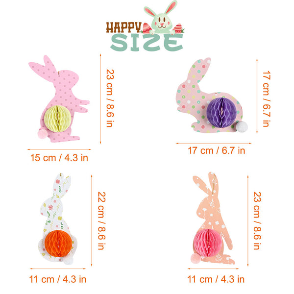 4 pieces Easter Bunny Spring Time Party Decorations Hanging Paper Honeycomb - Sunbeauty