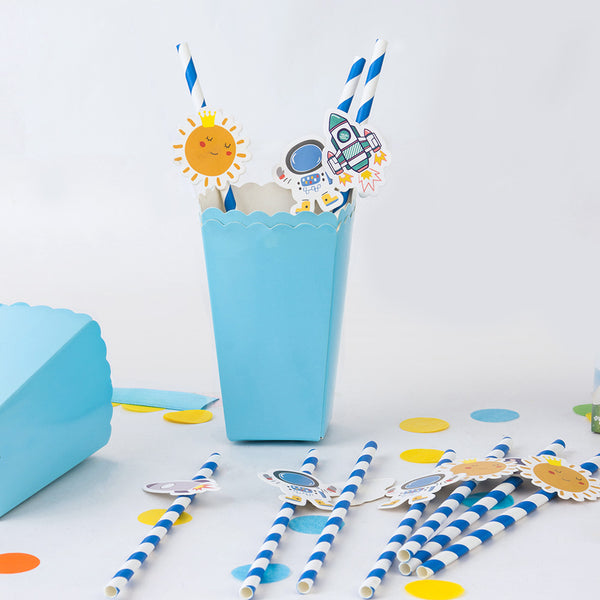 Outer Space Rocket Ship Baby Shower Paper Straw Decor - Sunbeauty
