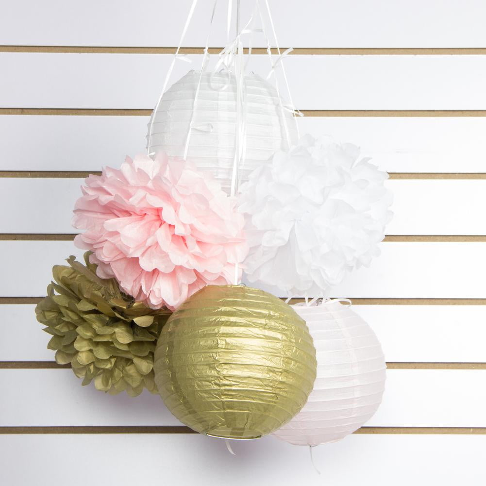Gold Pink White Paper Crafts Party Decoration - cnsunbeauty