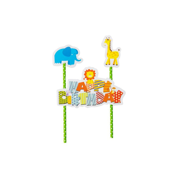 Jungle Party Pull Flag Cake Topper - Sunbeauty